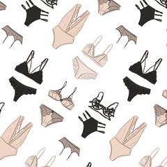 Women's lingerie pattern, underwear set illustration in vector. Sexy undergarment boutique advert, lingerie store art, bra shop advertising