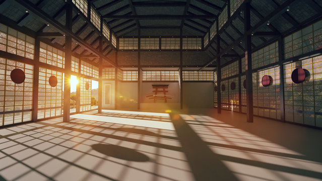 3D Japanese hall for karate training.