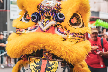 Melbourne, Victoria, Australia, February 2nd, 2020: The Chinese community of Melbourne celebrates the Chinese New Year with lion dances, drums and loud crackers in the Chinatown district of the city.
