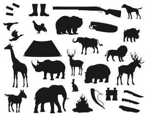 Hunt icons, wild animals and birds, hunter ammo equipment silhouettes. Vector deer, elk and bear, African safari hunt lion and elephant, rhinoceros, giraffe and boar, ducks and hunter rifle guns