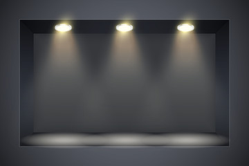 Fototapeta Horizontal Black wall niche with spotlight. Recess in a dark wall in rectangle shaped with point light. Editable Background Vector illustration. obraz