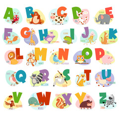 Cute Animals alphabet for kids education.Funny animals alphabet.