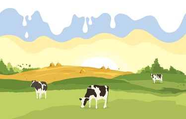 Montage in der Fensternische Pistazie Abstract rural landscape with cows. Vector illustration, fields and meadows with milk drops