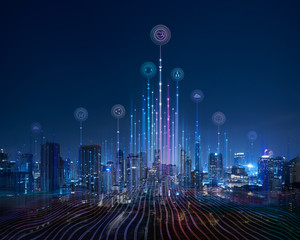 Smart city and abstract dot point connect with gradient line