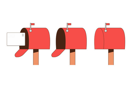 Mailbox vector flat set isolated on a white background.