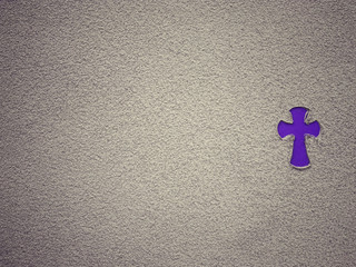 Ash Wednesday, Lent Season and Holy Week concept. A Christian Holy cross shape on background of scattered ashes.