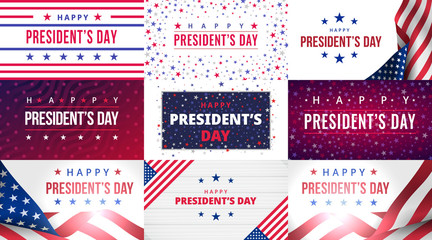 Happy Presidents Day. Set of greeting cards with inscription on USA blue red patriotic background with flags, stars and stripes