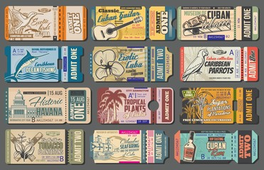 Cuba tours tickets, tourist trips to landmarks and sightseeing attractions. Vector vintage retro tickets to Havana tobacco and sugar cane plantations, sea fishing trips and Cuban adventure journey