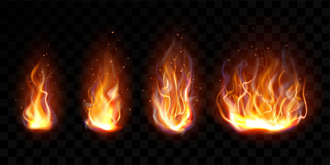 Realistic fire, torch flame set isolated on transparent background. Burning campfire or candle blaze effect, glow orange and yellow shining flare design elements 3d vector illustration, icon, clip art