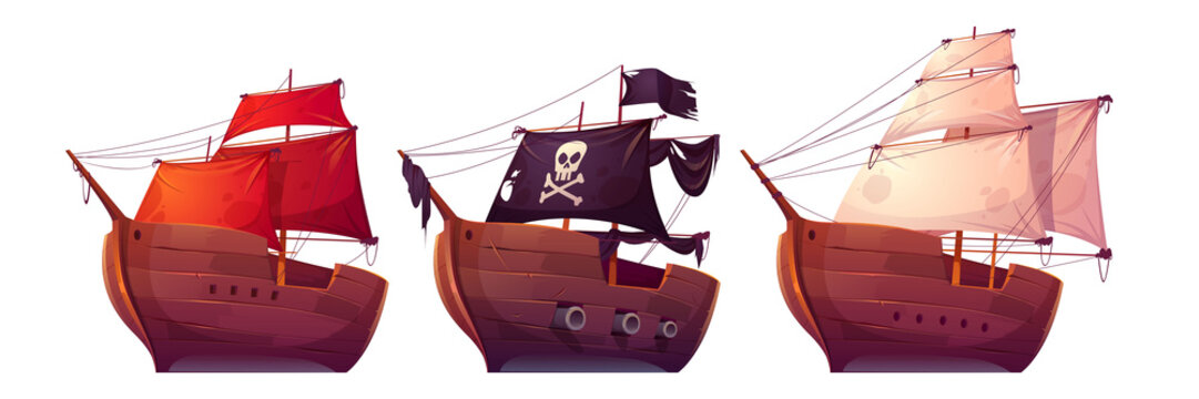 Vector sail boats with white, red and black sails. Pirate ship with black flag, cannons, skull and crossbones on canvas. Cartoon set of old wooden ships, vintage galleons isolated on white background