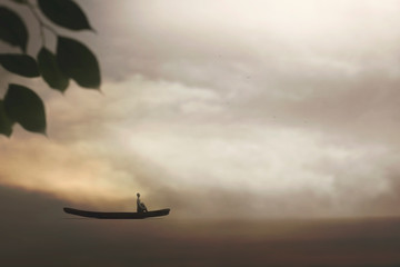 lonely man travels on a canoe among  spectacular nature