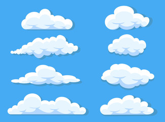 Set of clouds cartoon style isolated on white illustration