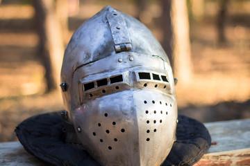 Knight's helmet with visor close-up