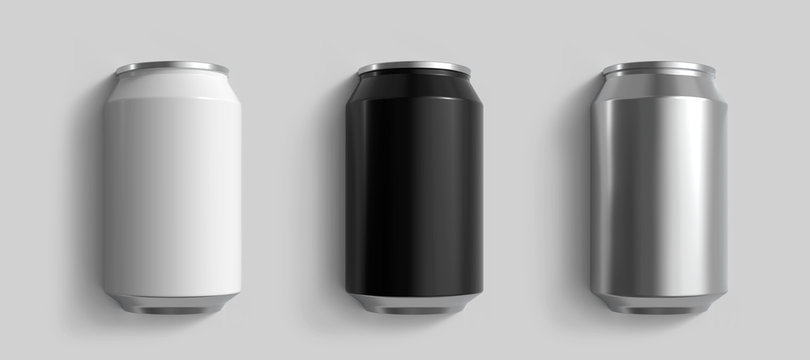 Set of White, Black and Metal 12 oz Beer or Soda Cans. Realistic 3D Render Isolated on Light Grey Background.