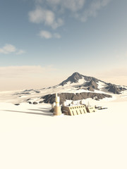 Science fiction illustration of a research station outpost on an alien snow covered ice planet, 3d digitally rendered illustration