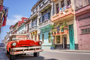 Garden Poster Havana Vintage classic red american car in a colorful street of Havana, Cuba.