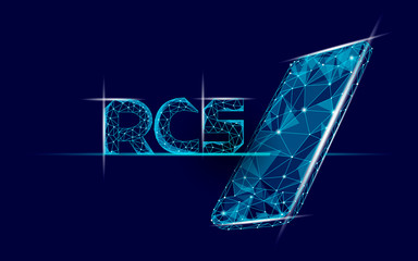RCS 3D inscription. Polygonal letters Rich Communication Services glowing light effect. Cyberspace innovation web communication online app. Digital messenger media concept vector illustration