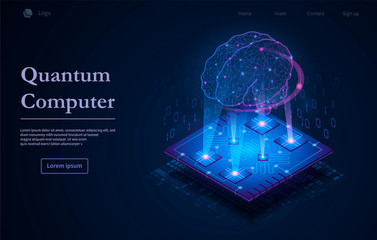 Tech background with Quantum Computer text caption and microchip image with glowing holographic human brain in purple light on dark blue background. Neural networks, AI and computing technology