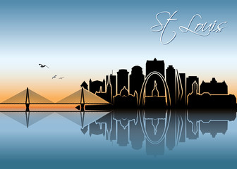Fototapete - St Louis skyline - Missouri - United States of America USA - vector illustration
