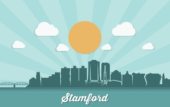 Stamford skyline - Connecticut, United States of America, USA - vector illustration