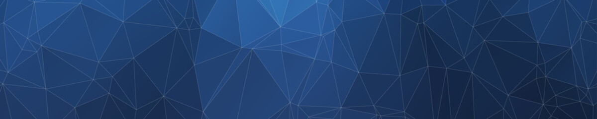 Abstract Wide Polygonal Blue Triangle Banner Texture