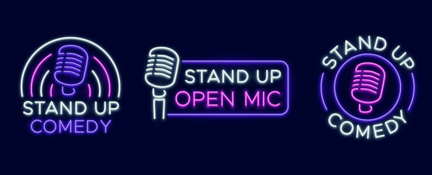 Standup show signs. Neon comedy club and open microphone icons. Comedian entertainment and event vector symbols. Illustration stand up comedy and humor, signboard with microphone