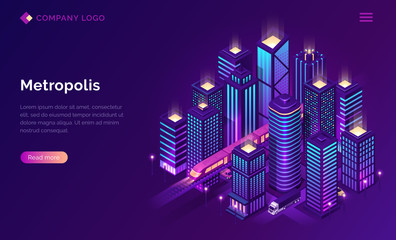 Smart city metropolis isometric landing page, futuristic town with subway train transport and cars riding among tall skyscraper buildings on neon glowing background. Vector illustration, web banner Wall mural