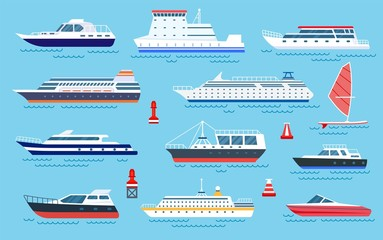 Flat ships. Speed boats, sea transport. Flat cruise yachts, sailboat and motorboat. Cartoon ocean transportation and shipping vector set. Illustration motorboat and cruise, ocean speed yacht