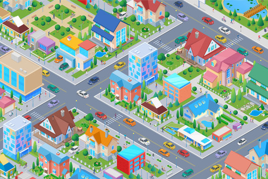 Isometric Smart city District with different Buildings Flat vector illustration. Houses Cottages Administrative Architecture with street cars trees