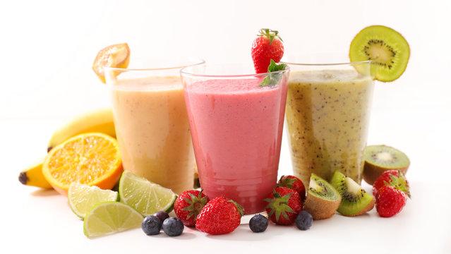 assorted of fruit smoothie- organic fruit, detox juice, fruit juice on white background