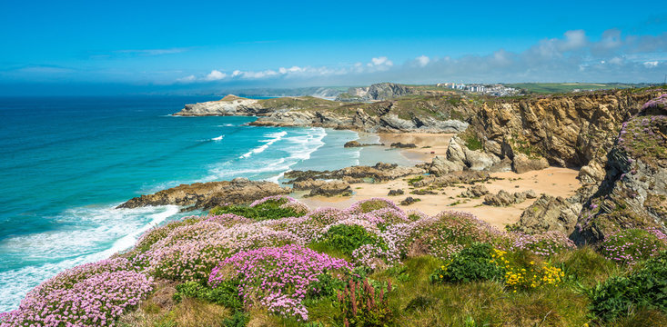 Stunning coastal scenery with Newquay beach in North Cornwall, England, UK.