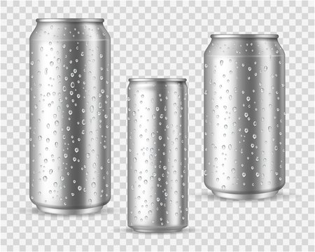 Realistic cold cans. Silver or aluminium metal wet blank energy drink and beer cans with droplets vector mockups