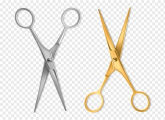 Realistic scissors. Silver and gold metal classic scissors tool mockup, hairdresser or tailor instrument isolated vector set