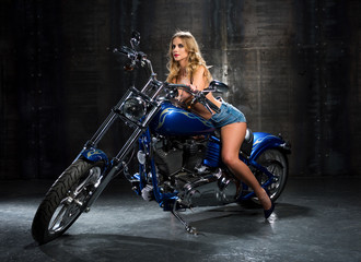 Sexy woman on a motorcycle.