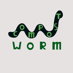 Compost worms. Worm earthworm black silhouette animal. Lettering. Vector Illustration isolated for logo, web design