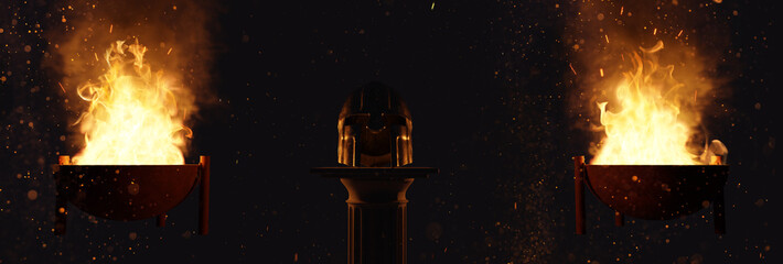 3d rendering of ancient greek Sparta type helmet laying on greek column and lighted from big fire in the fire bowl