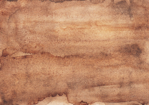 Watercolor old brown background texture. Ancient parchment backdrop hand painted. Light taupe color overlay.