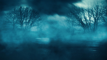 Dark empty dramatic background. Night dark sky in a blue neon glow, wet asphalt. Background of an empty night street, smoke, smog. Fototapete