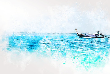 Abstract fish boat in ocean and mountain range on watercolor illustration painting background.