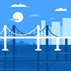 Vector image of a bridge in the city