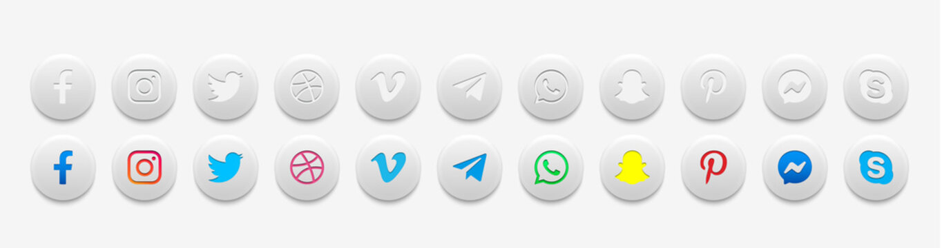 MOSCOW, RUSSIA - FEBURAY 3, 2020. Social media icons in light style: Facebook, Instagram, Twitter, Skype, Telegram, Pinterest, Whatsapp, Dribbble, Messenger, Vimeo, Snapchat