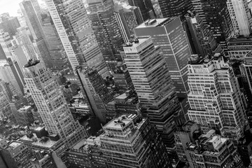 Fototapete - Aerial view of New York skyline with Manhattan midtown urban skyscrapers, New York City, USA. Black and white image.