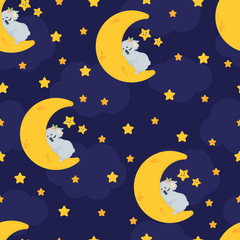 Vector seamless pattern with cute koala bear sleeping on the moon in cartoons style on dark blue background with stars and clouds. Repeated background with illustration of a funny spleeping koala.