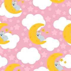 Vector seamless pattern with cute koala bear sleeping on the moon in cartoons style on pink background with stars and clouds. Repeated background with illustration of a funny spleeping koala.