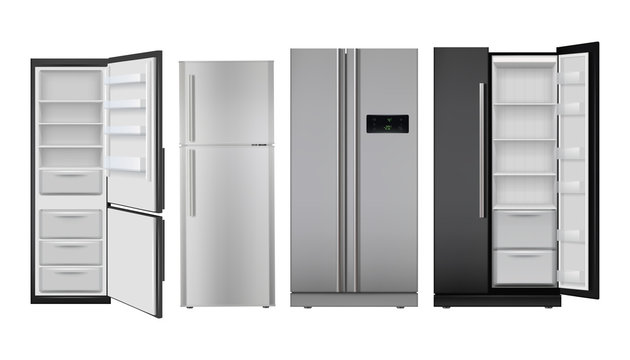 Fridge realistic. Open and closed home refrigerator empty freezer for healthy food vector set. Freezer refrigerator, fridge for kitchen, realistic household electric freeze illustration