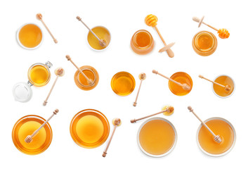 Set of organic delicious honey on white background, top view