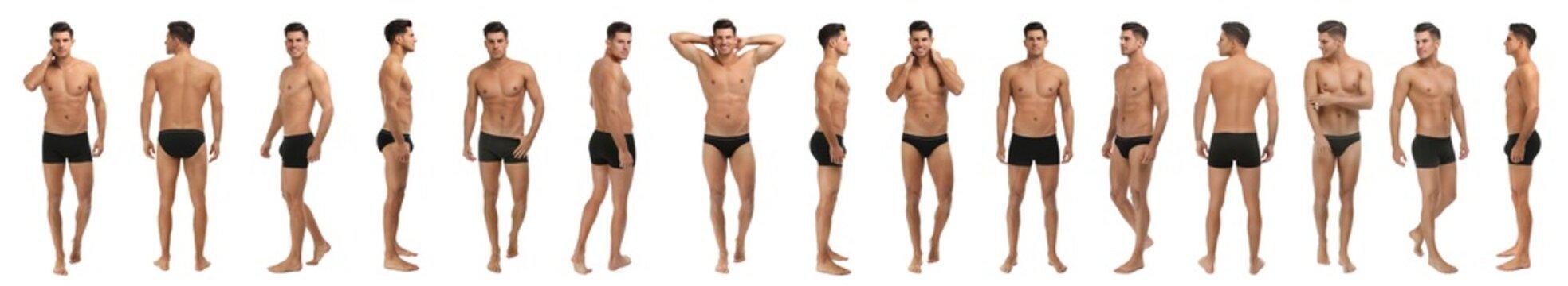 Collage of man in black underwear on white background. Banner design