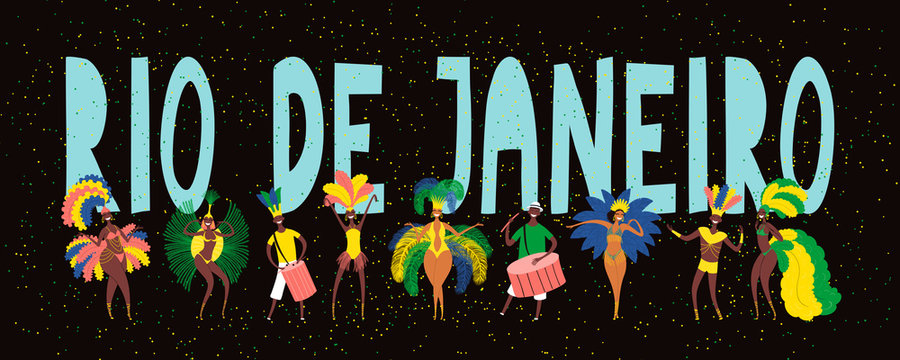 Hand drawn vector illustration with dancing people in bright costumes, drummers, feathers, confetti, text Rio de Janeiro. Flat style design. Concept for Brazilian carnival poster, flyer, banner.