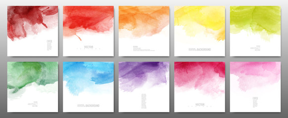 Set of bright colors watercolor
