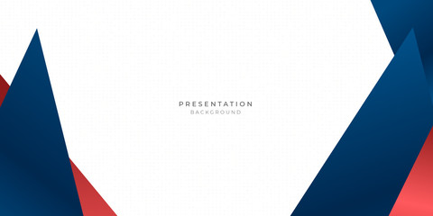 Red blue triangle abstract background for presentation design with dot pattern in white background Fotobehang